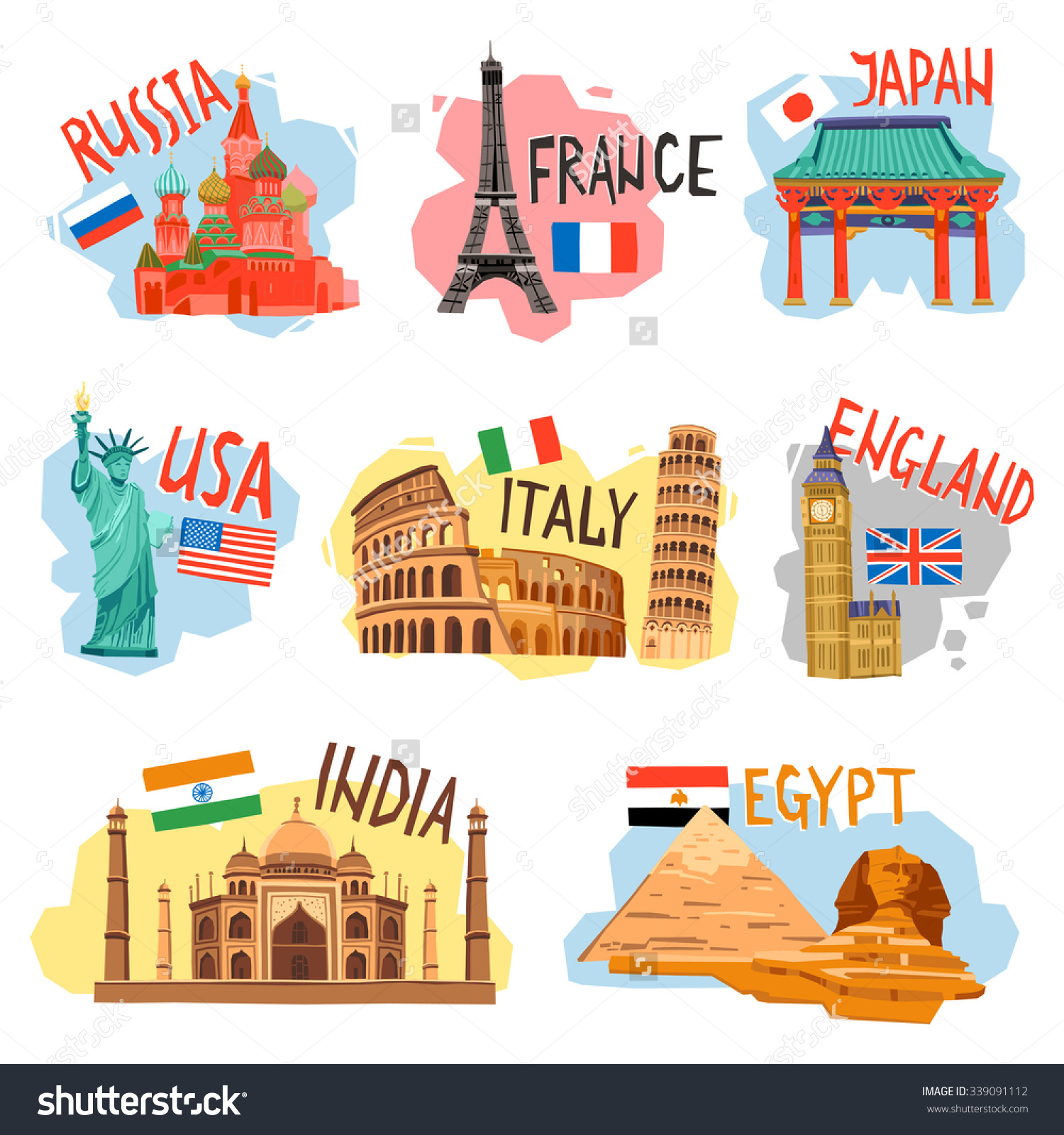 Vacation Sightseeing Tourism Travel Agencies Flat Stock Vector.