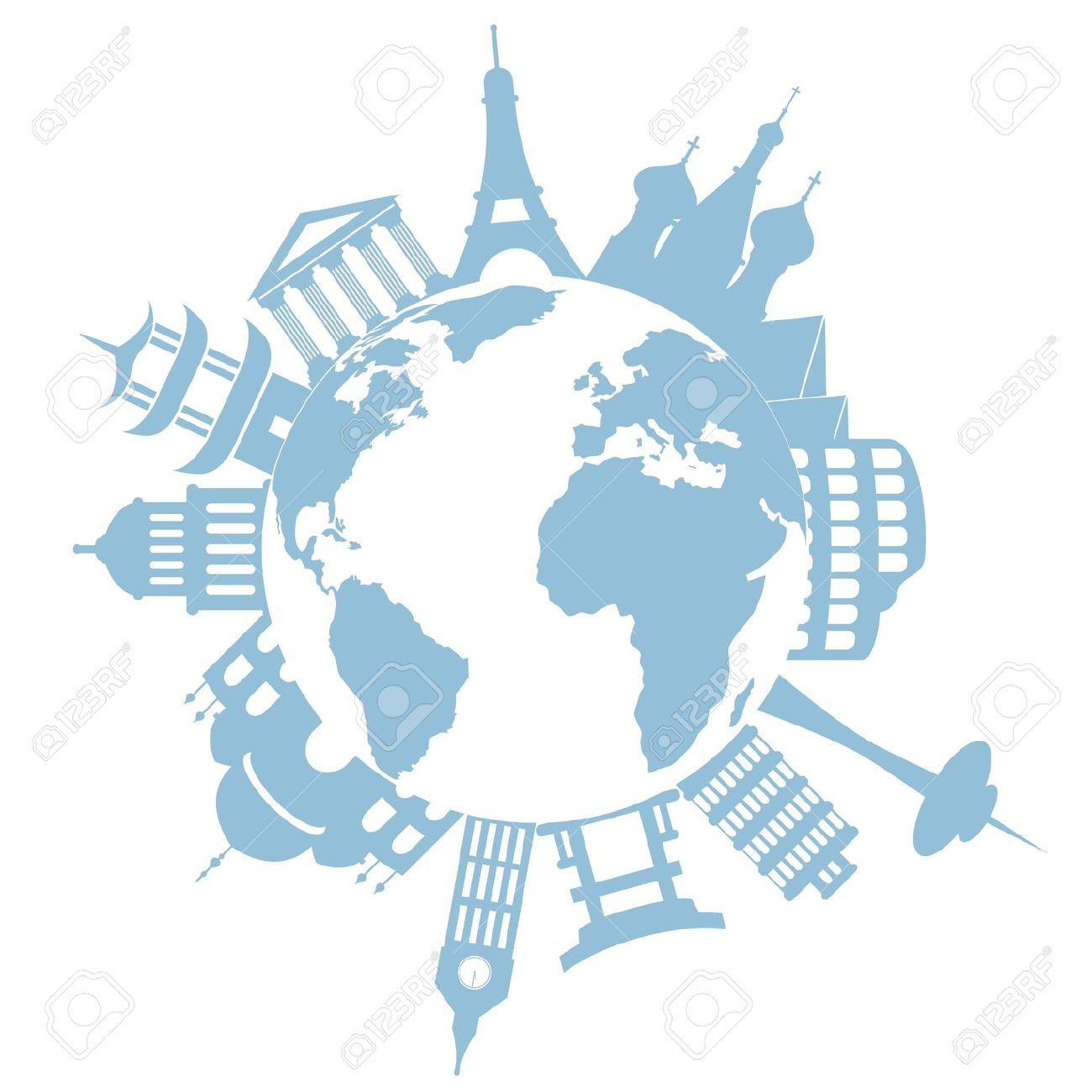 World's Famous Landmarks And Monuments Royalty Free Cliparts.