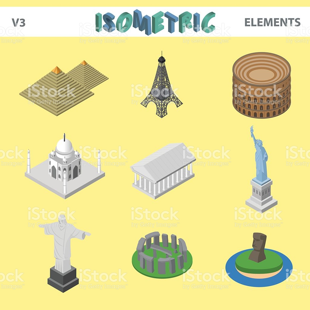 Isometric Famous Sightseeing Places stock vector art 597948564.
