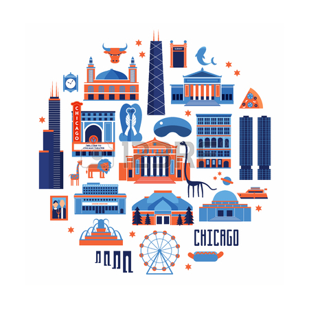 Blue And Red Set Of Chicago' Famous Landmarks. Flat Style Designed.