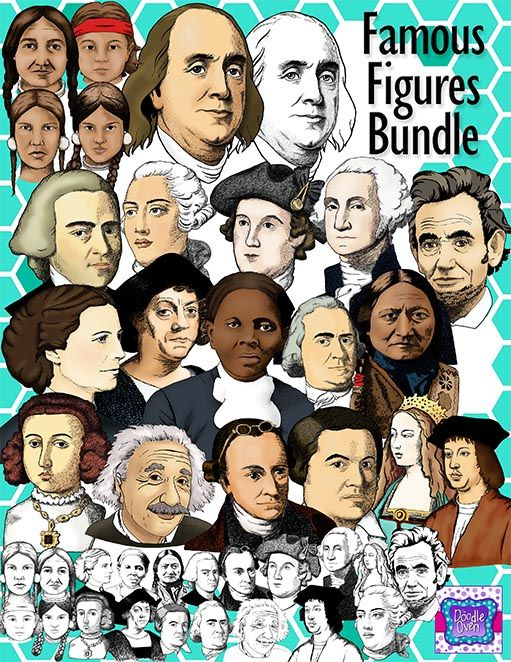 Realistic Famous People in US History Clipart Bundle.