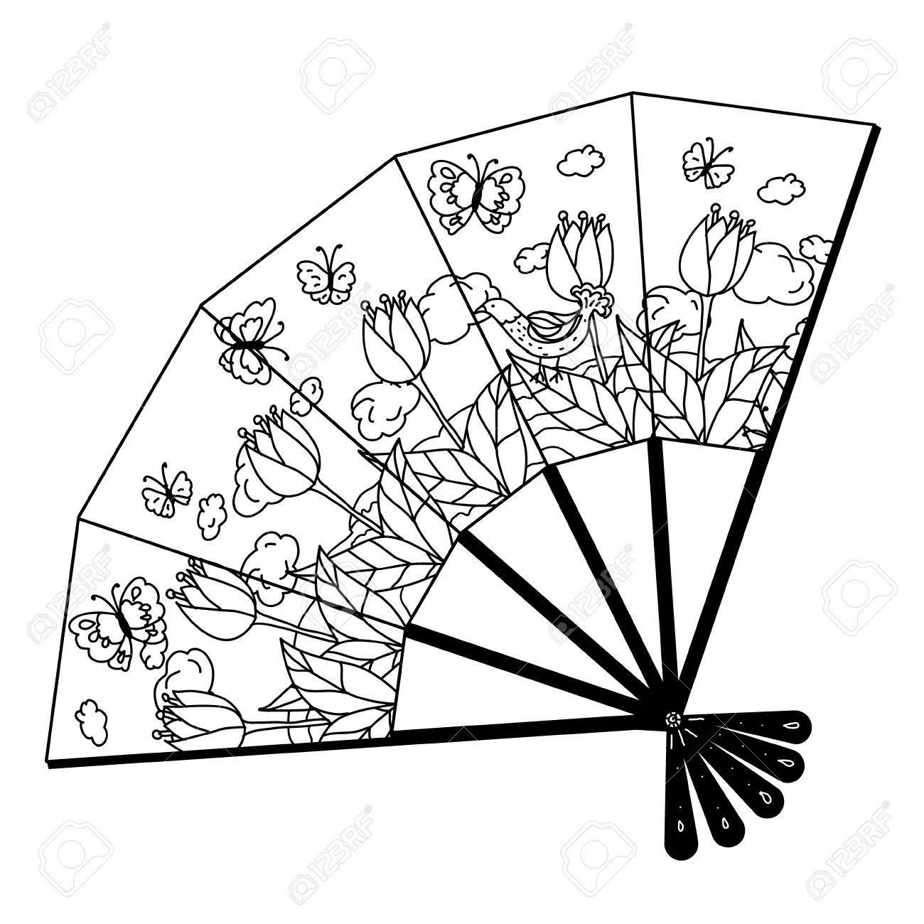 Oriental fan decorated with floral patterns interpretation. Black...