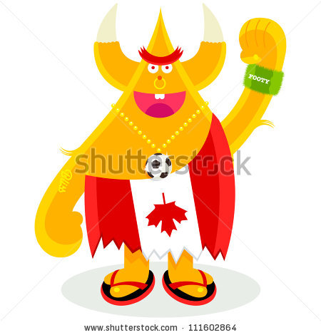 Moody Maple Canadian Character Football Fan Stock Vector.