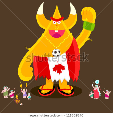Made Of Maple Muppet Canadian Football Fan With Tribe Stock Vector.