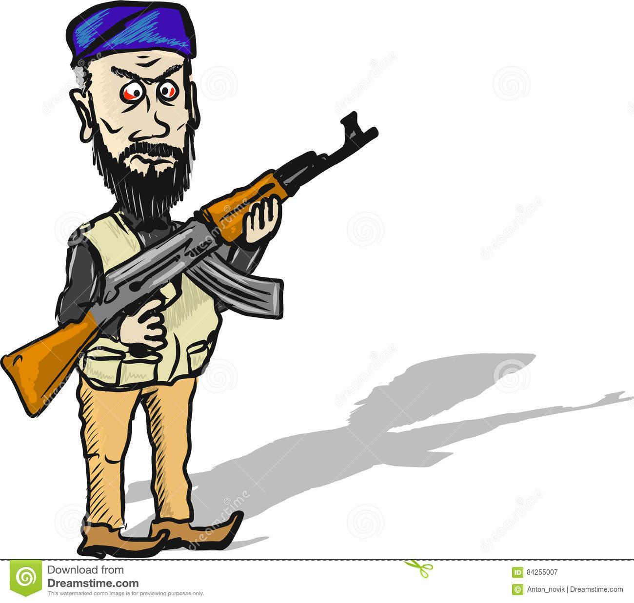 Terrorist Cartoon Character Vector Illustration Sketch Clip.