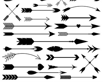 Fancy arrow black clipart.