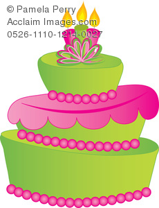 Clip Art Illustration of a Crooked Fancy Layer Cake.