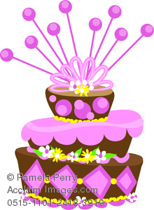 Clip Art Illustration of a Crooked Fancy Chocolate Layer Cake.
