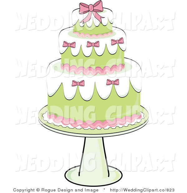 Vector Marriage Clipart of a Wedding Fancy Three Tiered Green and.
