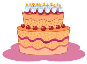 Clipart Picture of a Fancy Decorated Birthday Cake with Lots of.