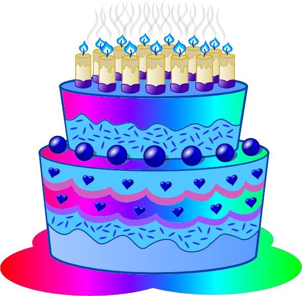 Blue cake clipart.