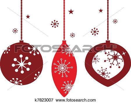 Clip Art of Elegant christmas balls decoration in retro style.