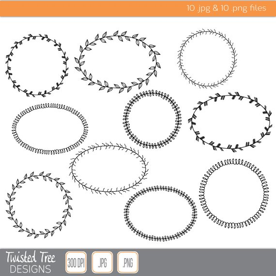 10 Hand Drawn Fancy Border Circle & Oval Frame Clipart for.