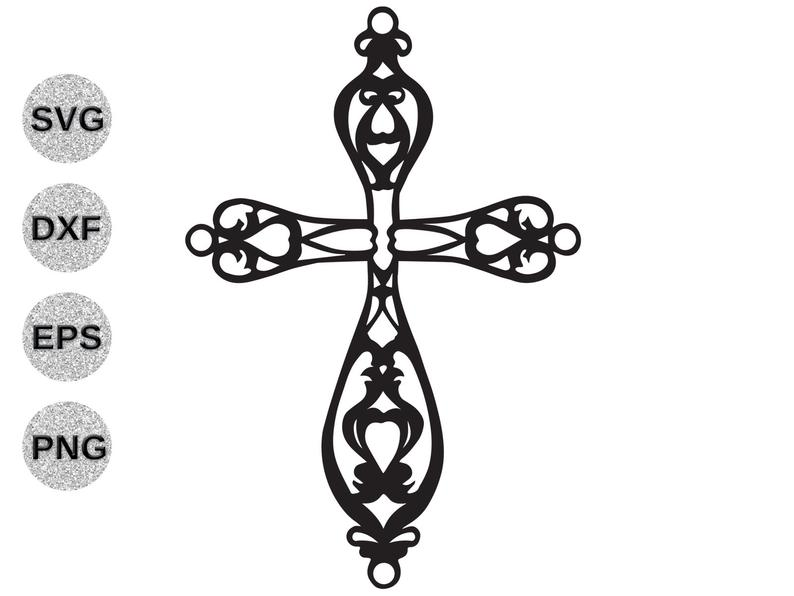 Cross svg, fancy cross svg, cross filagree svg, cross fretwork svg, cross  clipart, Christian svg Cricut Silhoette svg dxf eps png cutfile.