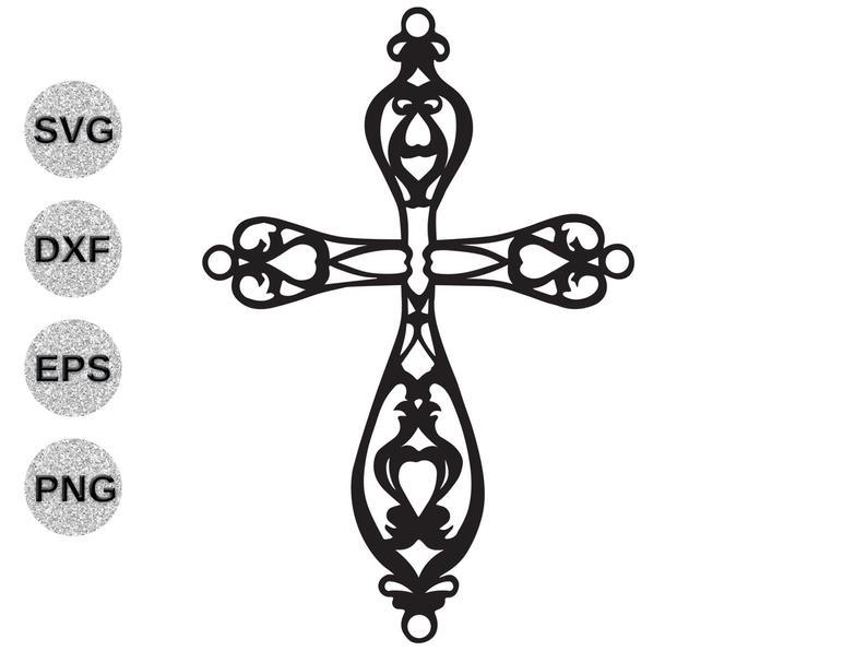 Cross svg, fancy cross svg, cross filagree svg, cross fretwork svg, cross  clipart, Christian svg Cricut Silhoette svg dxf eps png cutfile.