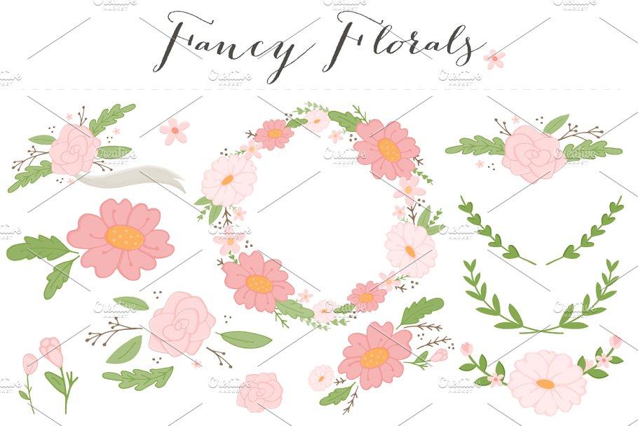 Fancy Flowers Clip Art PNG.