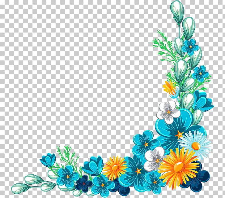 Flower Rose , Blue Fancy Flower Border Texture, blue and.