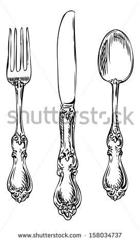 Fancy Fork PNG Black And White Transparent Fancy Fork Black.