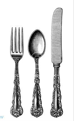 3dRose Black and white vintage cutlery set.