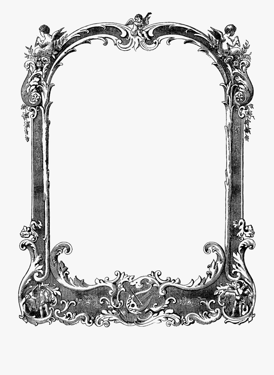 Fancy Frame Border Transparent Black Decorative Page.
