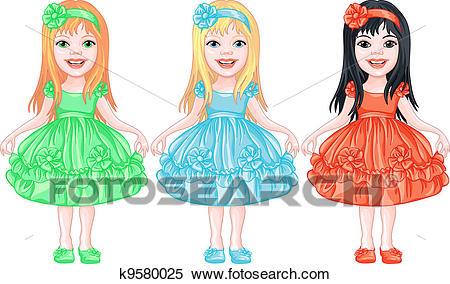 Set of charming little girls in fancy dresses Clipart.