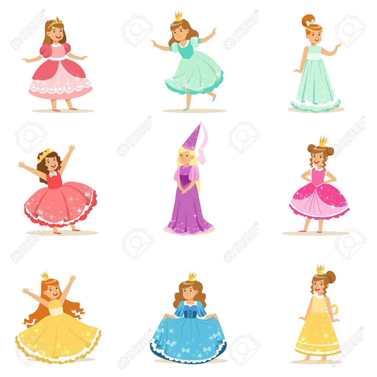 Little Girls In Princess Costume In Crown And Fancy Dress Set...