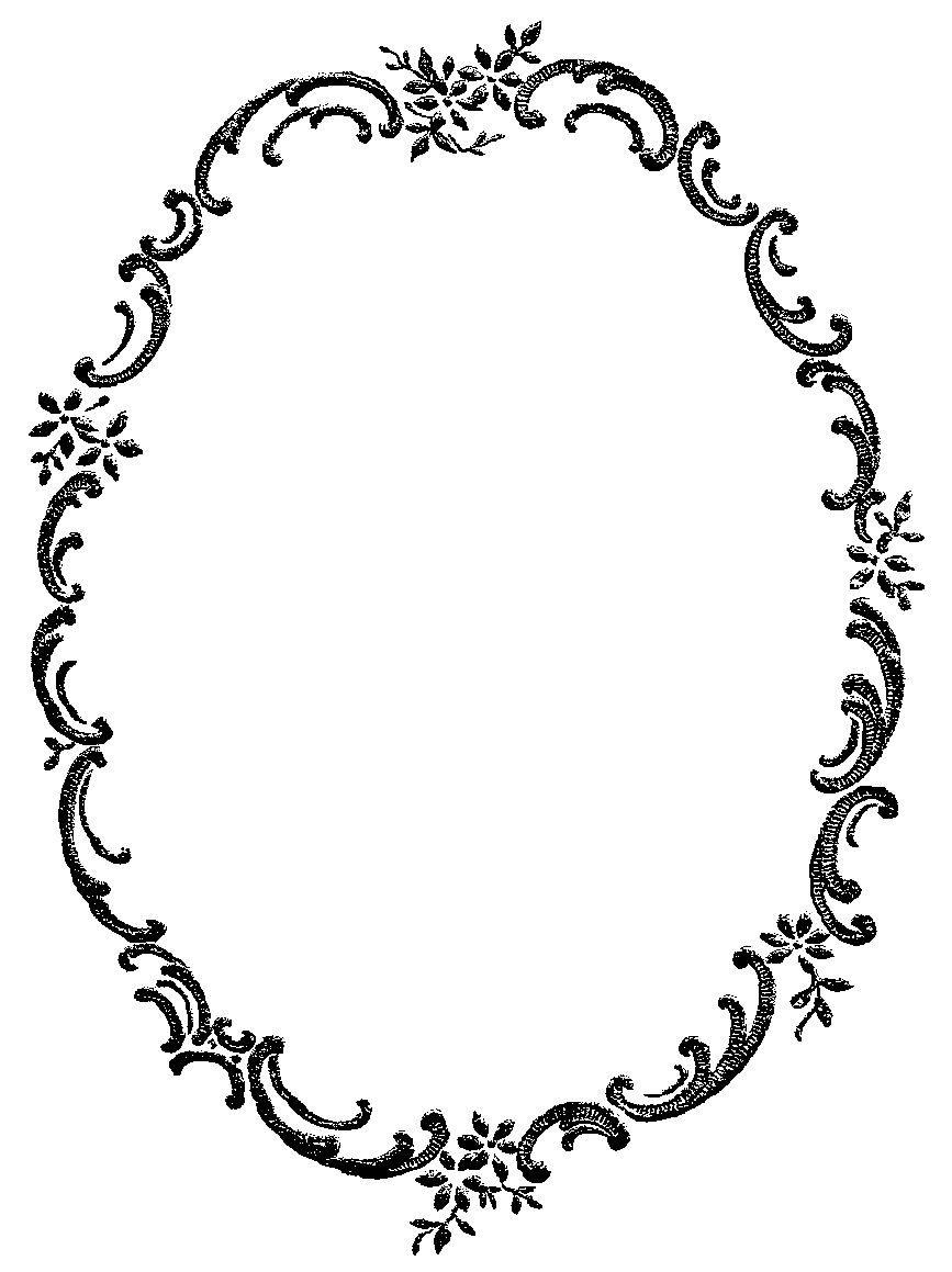 Digital Stamp Design: Free Digital Fancy Floral Frame Border.