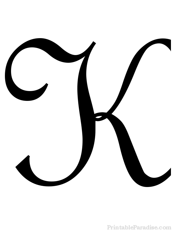 Printable Letter K in Cursive Writing.