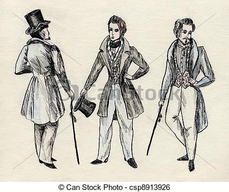Stock Illustration of fancy men 18 century. part 5 csp8913926.
