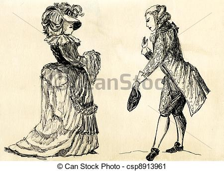 Clipart of fancy man and woman 18 century. part 1 csp8913961.