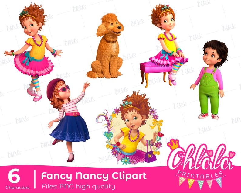 6 Characters PNG Fancy Nancy Clancy clipart high quality frenchy jojo cute  girl doll birthday printable.