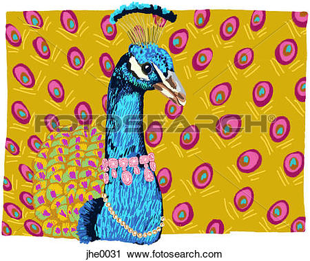 Clipart of A peacock wearing fancy necklaces jhe0031.