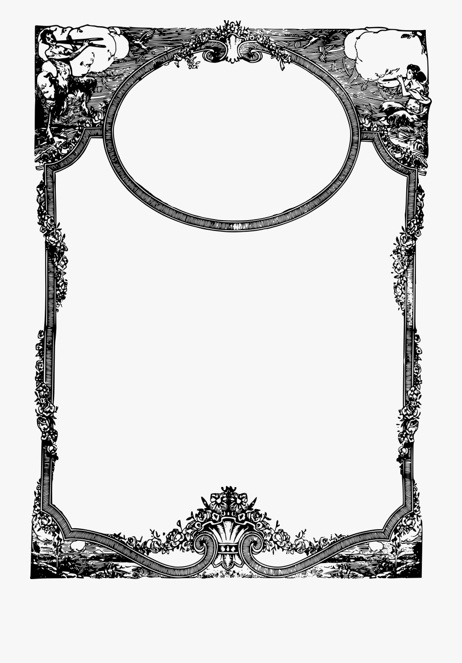 Banner Black And White Library Fancy Frames Clipart.
