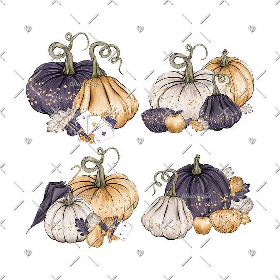 Fancy Pumpkins Cliparts, Elegant Pumpkins, Gold Pumpkins.