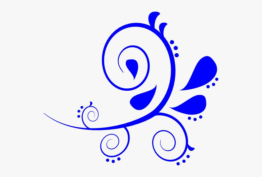 Blue Fancy Swirl Svg Clip Arts.