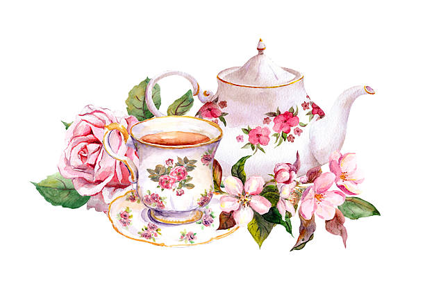 Fancy Tea Cups And Saucers Pictures Illustrations, Royalty.