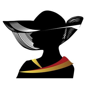 Woman With Fancy Hat Silhouette clipart, cliparts of Woman.