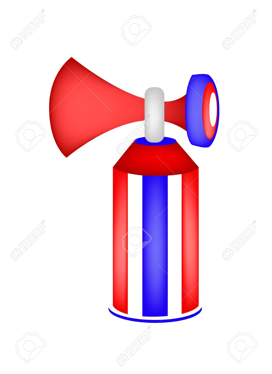 An Illustration Of Air Horn In Red, Blue And White Colors For.