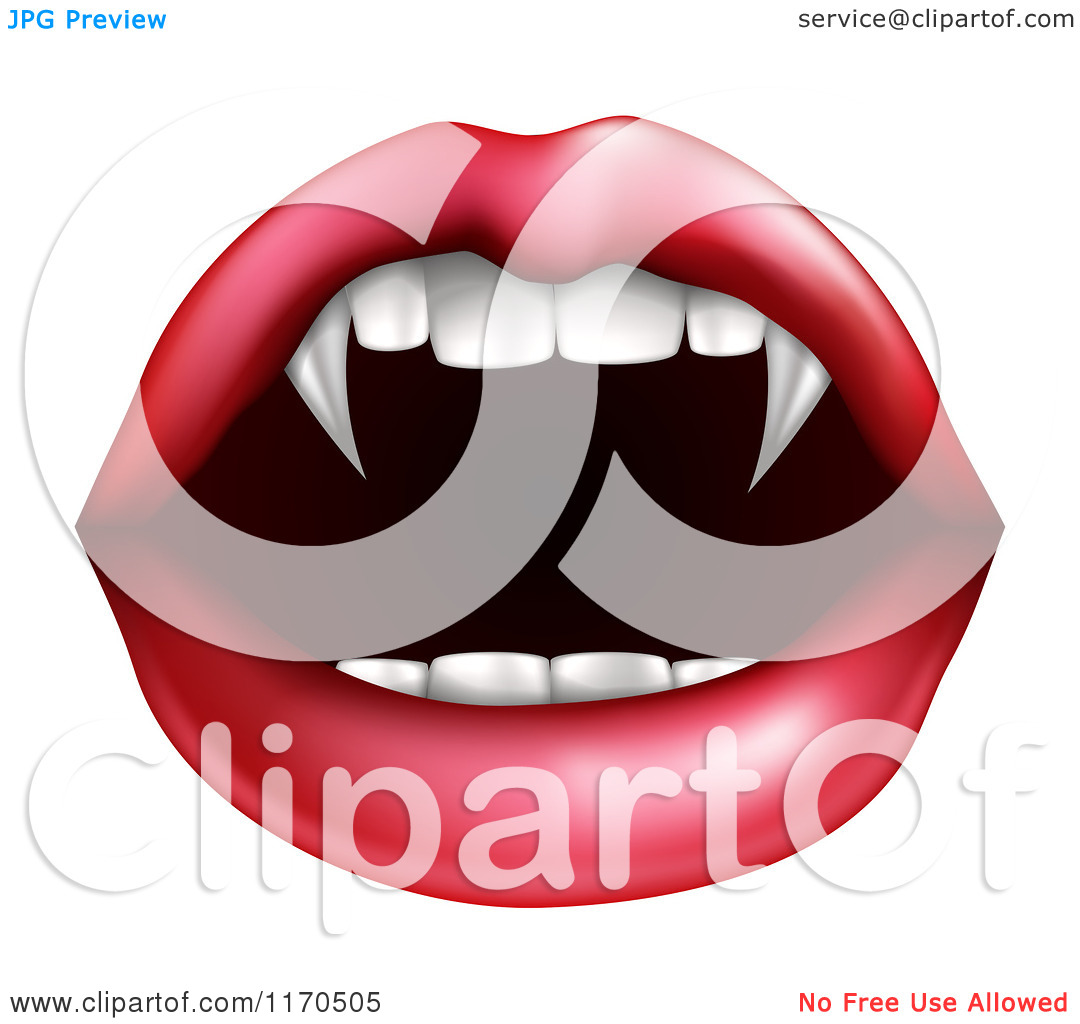 Clipart of a Female Mouth with Vampire Fangs.
