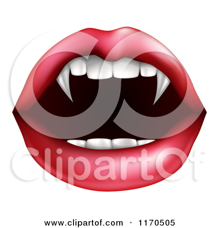 Clipart of a Female Mouth with a Tongue Licking Vampire Fangs.