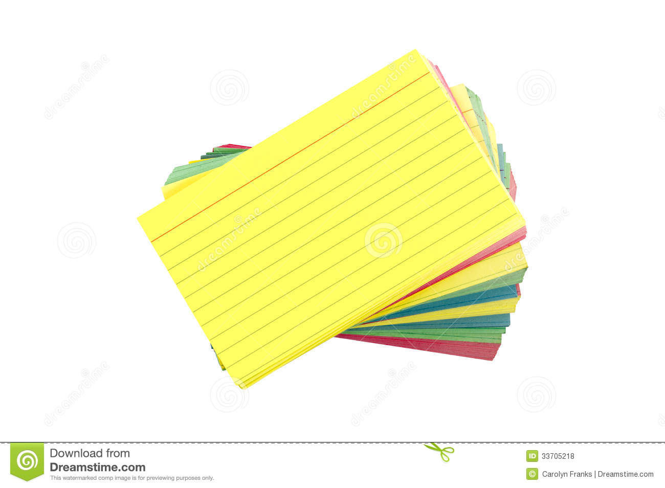 Colorful Blank Index Cards Fanned Out Isolated On White Royalty.