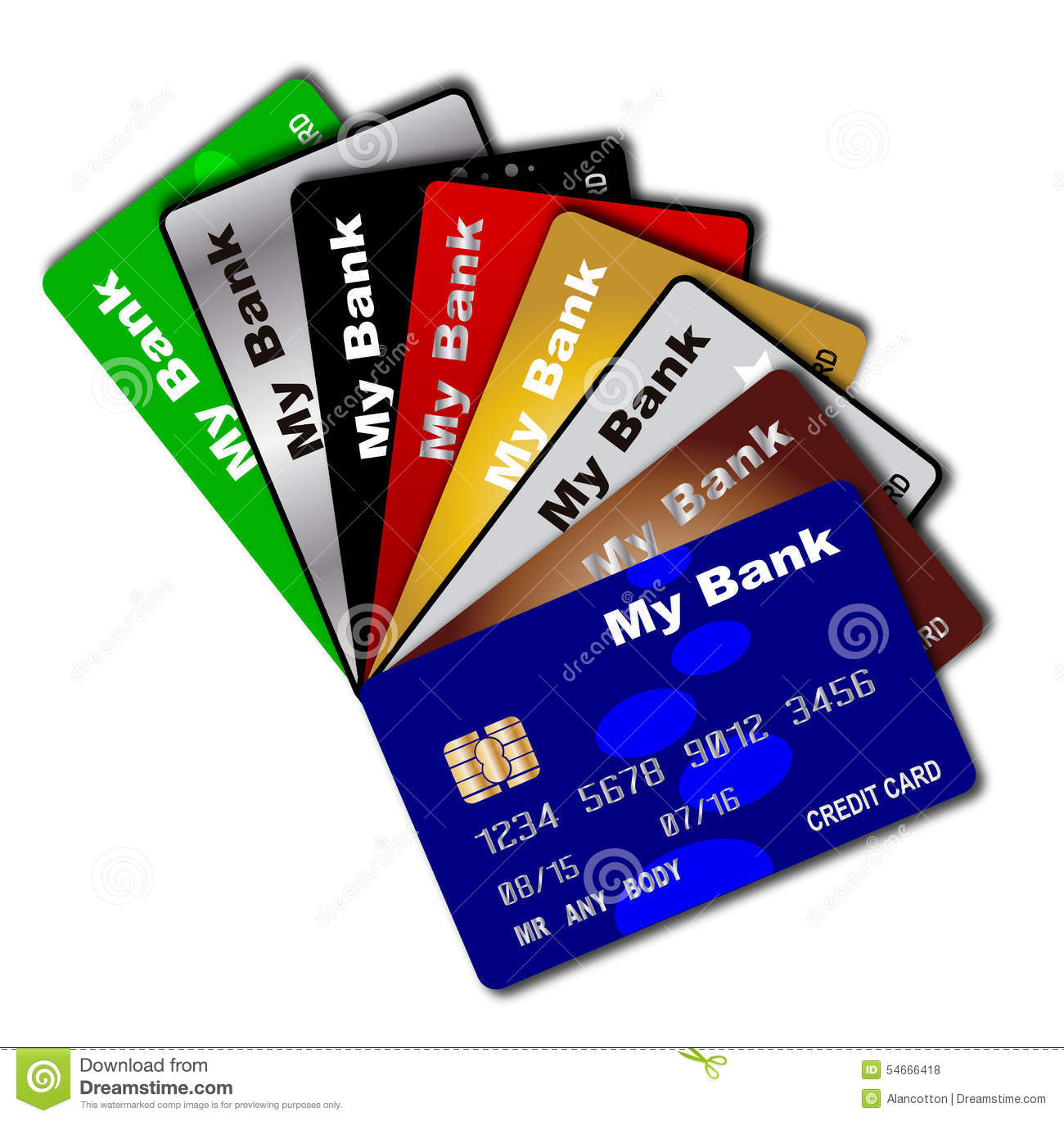 Credit Card Fanned Out Stock Images.