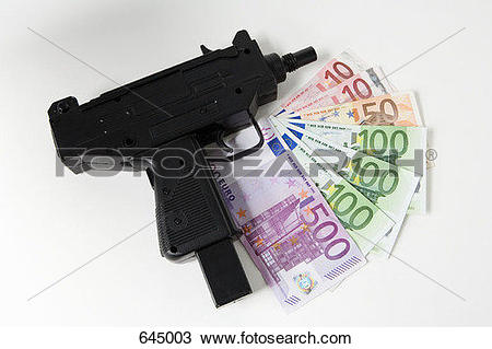 Stock Photo of A toy gun and euro banknotes fanned out 645003.