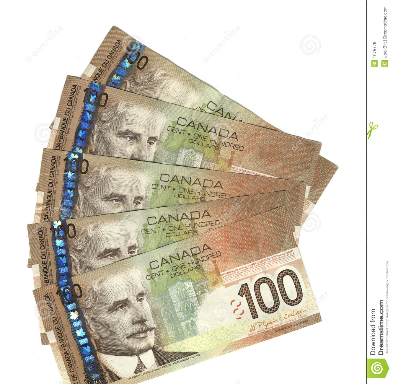 Fanned Out Canadian Hundred Dollar Bills Royalty Free Stock Images.