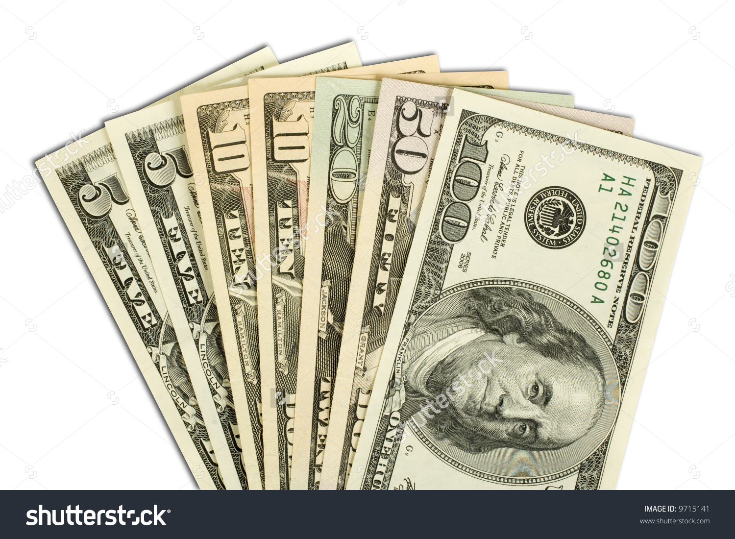 American Money Fanned Out 100 50 Stock Photo 9715141.