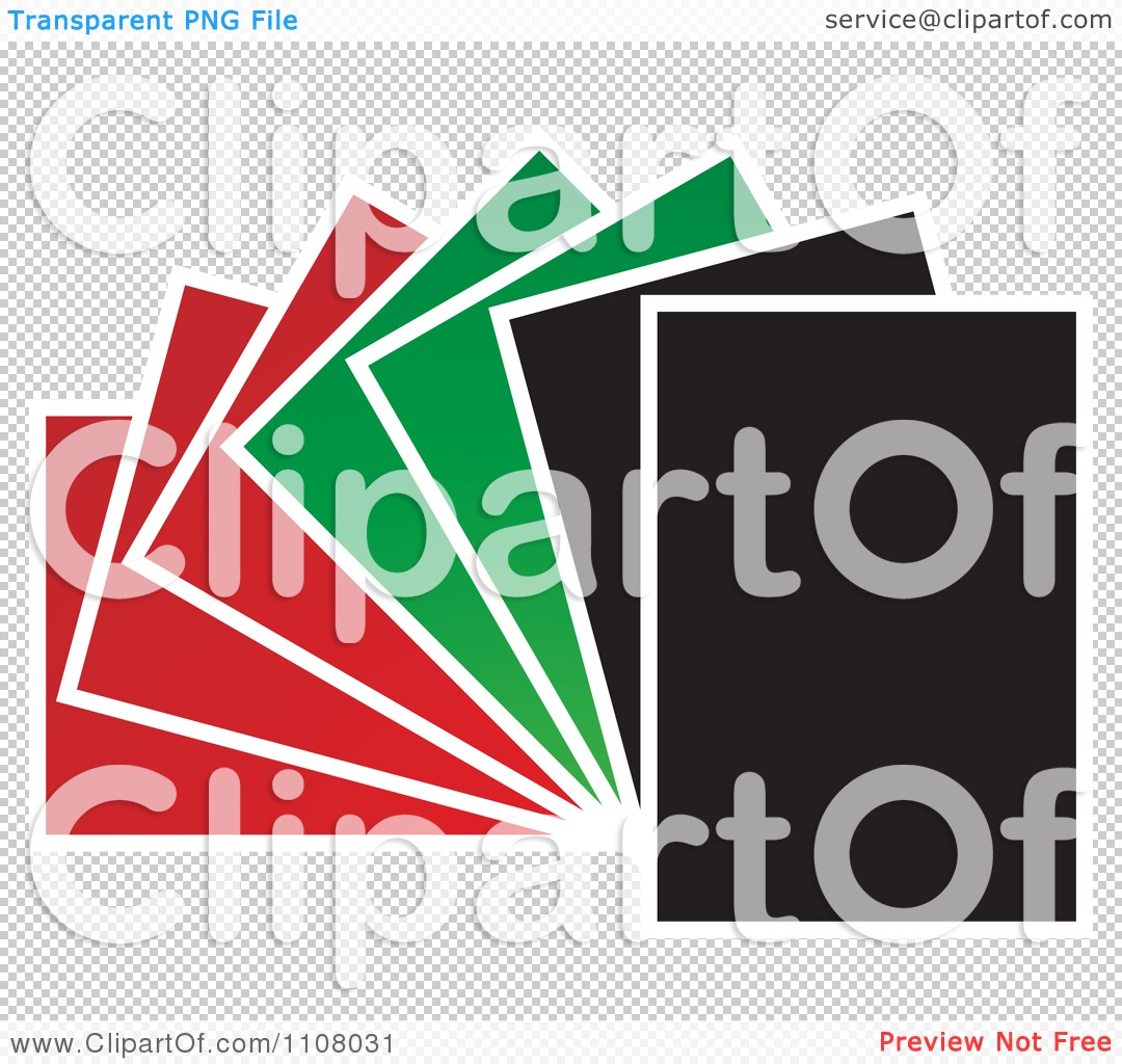 Clipart Red Green And Black Papers Fanned Out.