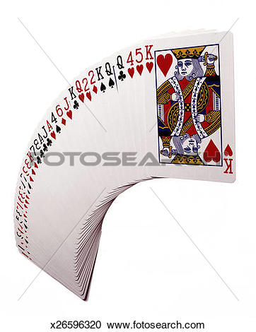 Stock Photography of Playing cards fanned out on white background.