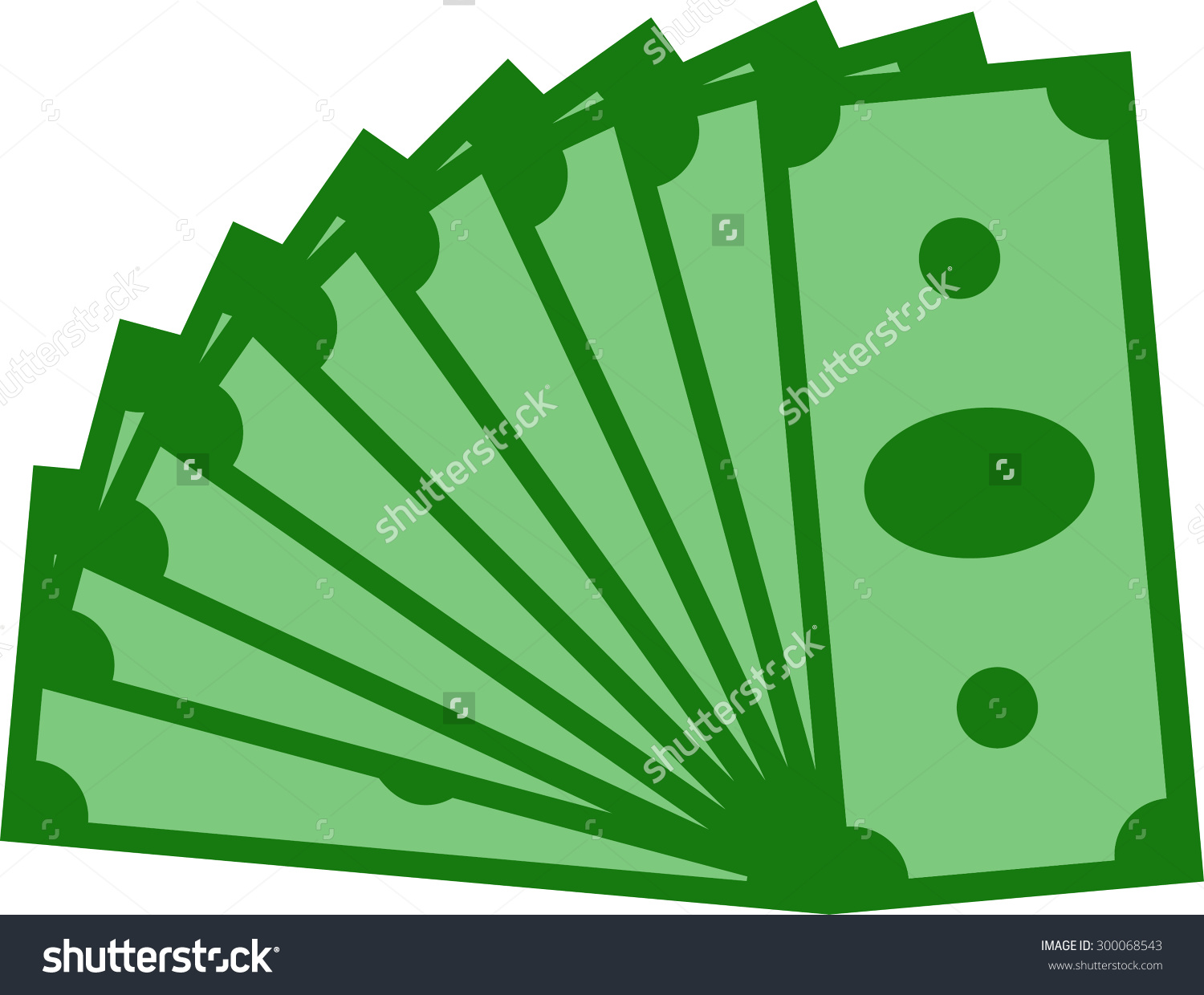 Money Fan Couple Banknotes Vector Illustration Stock Vector.
