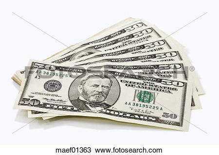 Stock Photo of US Dollar notes fanned out, close up maef01363.
