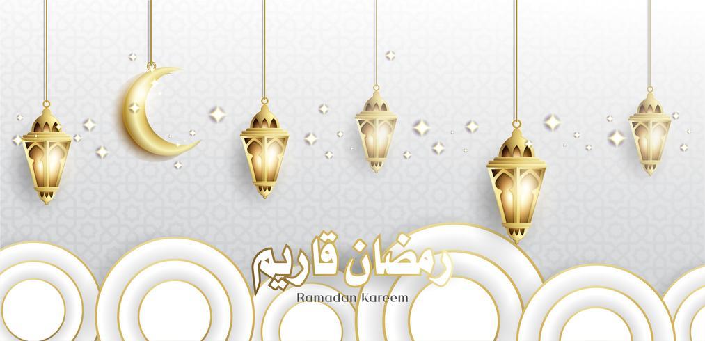 Ramadan Kareem with Hanging Fanoos Lantern & Mosque.